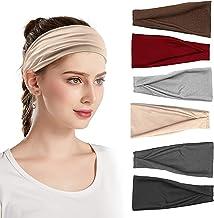 Sunny Smile Sport Workout Hoofdbanden, 6 ademende yoga-hoofdbanden, sporthoofdband, brede elastische katoenen hoofdband, a...