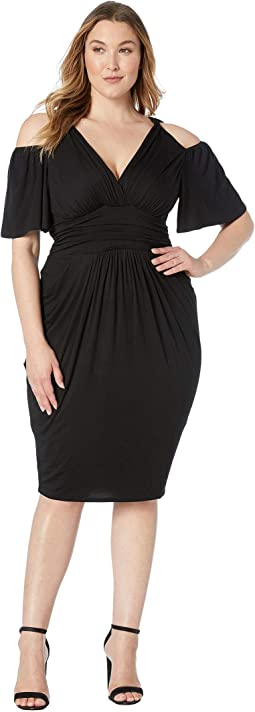 37fe3b01 Maggy london dream crepe cold shoulder sheath dress w cascade sleeve ...