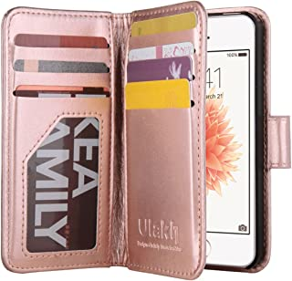 ULAK iPhone 5s Case, iPhone 5 Case, iPhone 5s/5/SE Wallet Case, Fashion PU Leather Magnet Wallet Flip Case Cover with Built-in Credit Card/ID Card Slots for 5s 5G 5 SE,Rose Gold