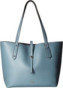 Polished Pebbled Leather Market Tote