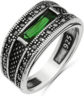 Solid 925 Sterling Silver Turkish Handmade with Baguette Cut Simulated Green Emerald Stone & Marcasite Stone Men's Band Ring