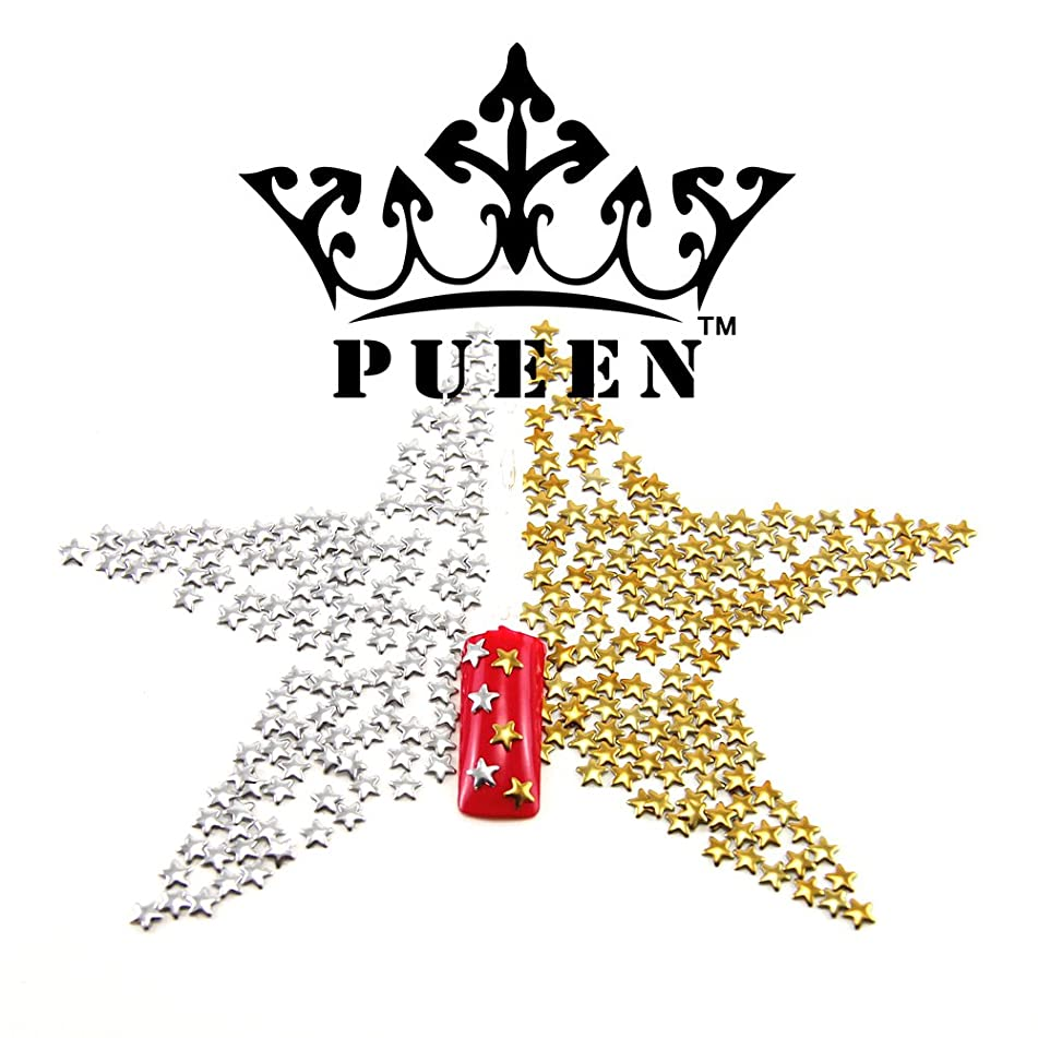PUEEN 3D Nail Art 300 Pieces Gold & Silver 5mm Star Metal Studs for Cellphones & Nails Decorations-BH000039
