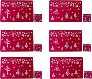 Outgeek Christmas Ornament 6PCS Christmas Table Mat Creative Decorative Christmas Placemat with 6 Cup Mats