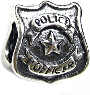 Sterling Silver Serve Protect Police Officer Badge European Style Bead Charm
