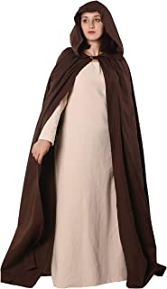 Hero- Medieval Viking Renaissance LARP and Cosplay LARP Linen-Look Cotton Canvas Hooded Cloak Cape