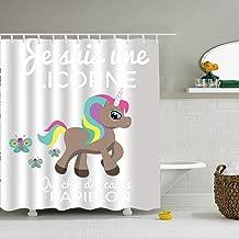 Nicholas Dunlop Je Suis Une Licorne Qui Chie Des Cacas Papillon Print Bath Shower Curtain Fabric Bathroom with Hooks 72