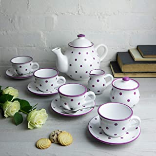 City to Cottage Handmade White and Purple Polka Dot Ceramic Teapot Set, Large 1,7l/60oz/4-6 Cup Teapot, Milk Jug, Sugar Bowl, Four Cups and Saucers Tea Set, Pottery Housewarming Gift for Tea Lovers