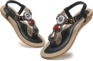 WINZYU Sandalias Mujer Verano Planas Diamante de Imitación Sandalias de Playa