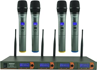 Wireless Microphone System, FREEBOSS 4 Channel VHF Wireless Microphone Set with 4 Handheld Mics, Metal Receiver, Ideal for Church, Meeting, Karaoke, Wedding (FB-V04)