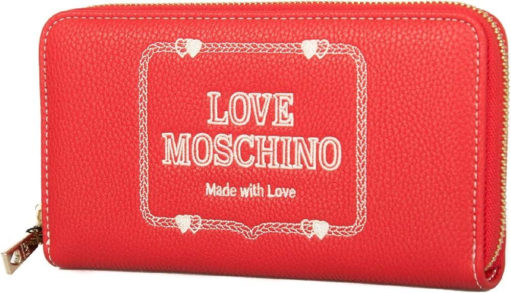 Love moschino, porta carte di credito, portafogli per donna, in pelle sintetica JC5602PP17