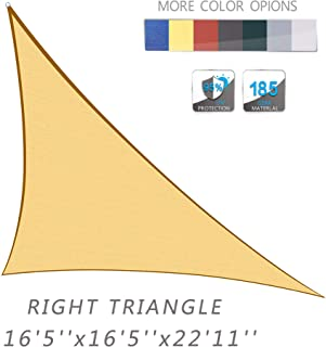 Love Story 16'5'' x 16'5''x 22'11'' Right Triangle Sand UV Block Sun Shade Sail Perfect for Outdoor Patio Garden