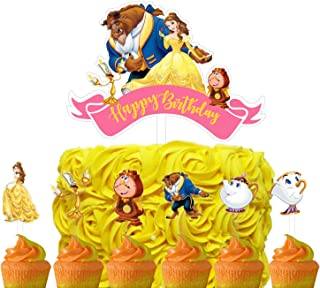 Set of Acrylic Beauty and The Beast Happy Birthday Cake Topper, Princess Belle Theme Birthday Party Suppliers, Disney Prin...