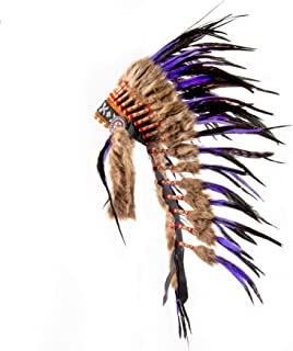 Pink Pineapple Handcrafted Native American Inspired Medium Feather Headdress, Purple and Black