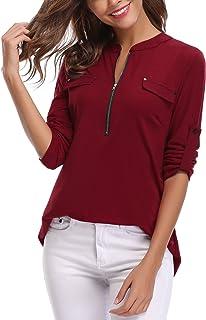 iClosam Women's V-Neck Zip Up Casual Tunic Shirt Blouse Tops