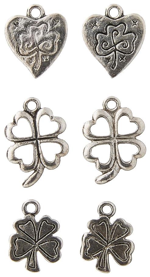 Jewelry Designer 2002-60 Silver Shamrock Charms 6Pc
