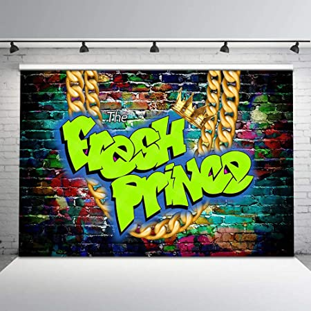 COMOPHOTO Fresh Princess Themed Party Backdrop 9x6ft Graffiti Wall The Fresh Princess Baby Shower Background 90s Pop Party Decorations Photo Booth Backdrop for Photography Cake Table Banner Supplies