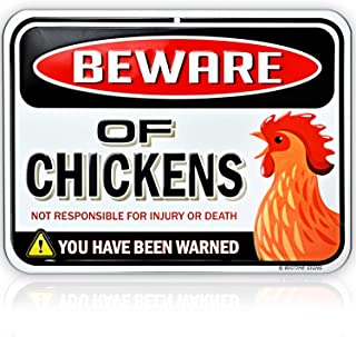 Embossed Metal Beware of Chickens Warning Sign - 9 inches x 12 inches - Danger Sign Funny Gag Gifts for Chicken Fan Lovers - Tin Metal - Indoor or Outdoor - Chicken Rooster Plaque Sign