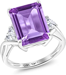 10K White Gold Solitaire w/Accent Stones Ring Emerald Cut Purple Amethyst and Timeless Brilliant Created Moissanite (IJK) 0.46ct (DEW)