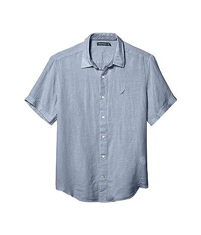 Nautica Short Sleeve Solid Linen Shirt (Blue 1) Men