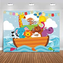 Cartoon Noah's Ark Sea Photography Backdrops Vinyl 7x5ft Wild Safari Animals Zoo Photo Backgrounds Baby Shower Party Banner Decoration Supplies for Children Birthday Cake Table Photo Booth Props