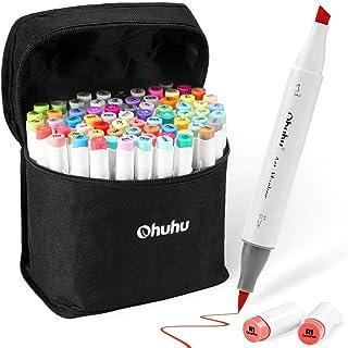 72 Colors Alcohol Markers, Ohuhu Brush & Chisel Double Tipped Sketch Marker for Kids, Artist, Alcohol Brush Art Marker Set BONUS 1 Blender for Sketching, Adult Coloring, Illustration, and Design