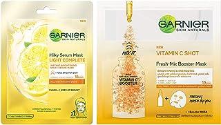 Garnier Skin Naturals, Light Complete, Face Serum Sheet Mask Yellow, 30g & Garnier Skin Naturals, Fresh Mix Vitamin C, Fac...