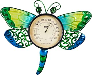 Evergreen Garden Dragonfly Outdoor Wall Thermometer