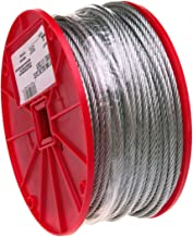 "Galvanized Steel Wire Rope on Reel, 7x7 Strand Core, 1/8"" Bare OD, 500` Length, 340 lbs Breaking Strength"