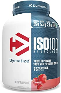 Dymatize ISO100 Hydrolyzed Protein Powder, 100% Whey Isolate Protein, 25g of Protein, 5.5g BCAAs, Gluten Free, Fast Absorb...