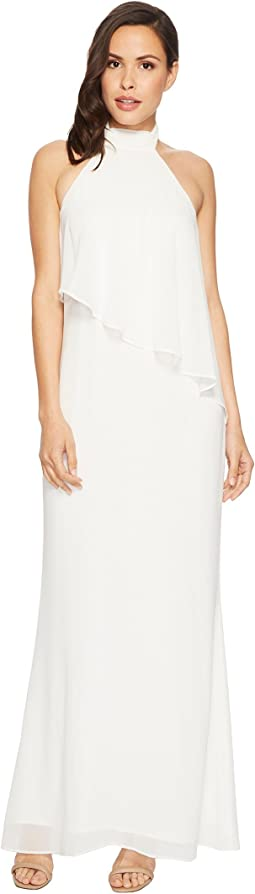 Laundry by Shelli Segal Chiffon Halter Gown with Asymmetrical Popover