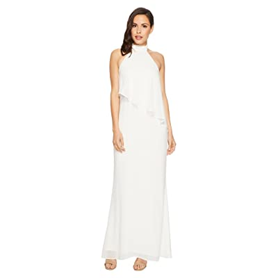 Laundry by Shelli Segal Chiffon Halter Gown with Asymmetrical Popover (Marshmallow) Women