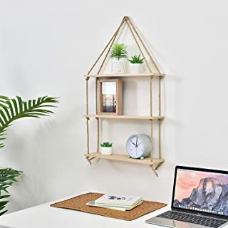 Prime Decor Light Wood Swing Storage Shelves - Jute Rope Organizer Rack - Rustic Home Decor Bookshelf - Window Plant Shelves - Floating Collectibles Display - Decorative