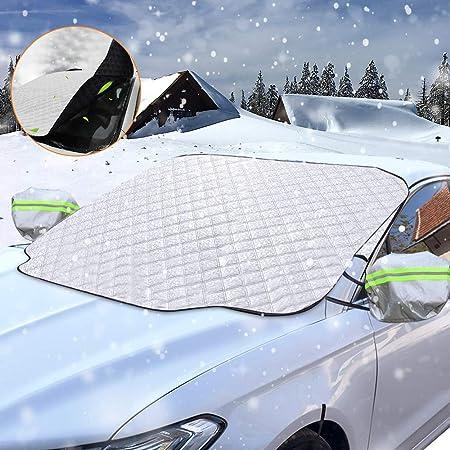 Sporgo Frontscheibenabdeckung Auto Scheibenabdeckung Magnet Faltbare Frostabdeckung Mit Zwei Spiegelabdeckungen Frontscheibe Abdeckung Winter Windschutzscheibe Abdeckung Für Gegen Schnee Staub Sonne Auto
