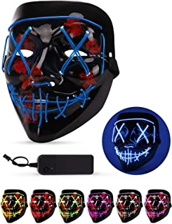 Sago Brothers Scary Halloween Mask, LED Light up Mask Cosplay, Glowing in The Dark Mask Costume 3 Lighting Modes, Halloween Face Masks for Men Women Kids - Blue