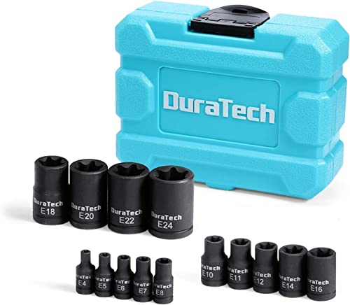 """lowest DURATECH 14-Piece External Star Impact Socket Set discount with Solid Case, Cr-V Steel, E4 to E20, 1/4"""", 3/8"""",1/2"""" Drive Female E-Torx Torque Socket for Working with Impact lowest Wrench outlet sale"""