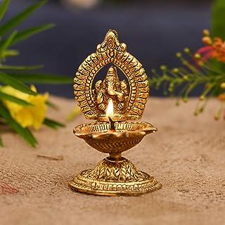 CraftVatika Ganesha Diya Oil Lamp Metal Brass Diya Deepak Akhand Jyot Kuber Hindu Temple Havan Puja Religious Oil Lamp (Si...