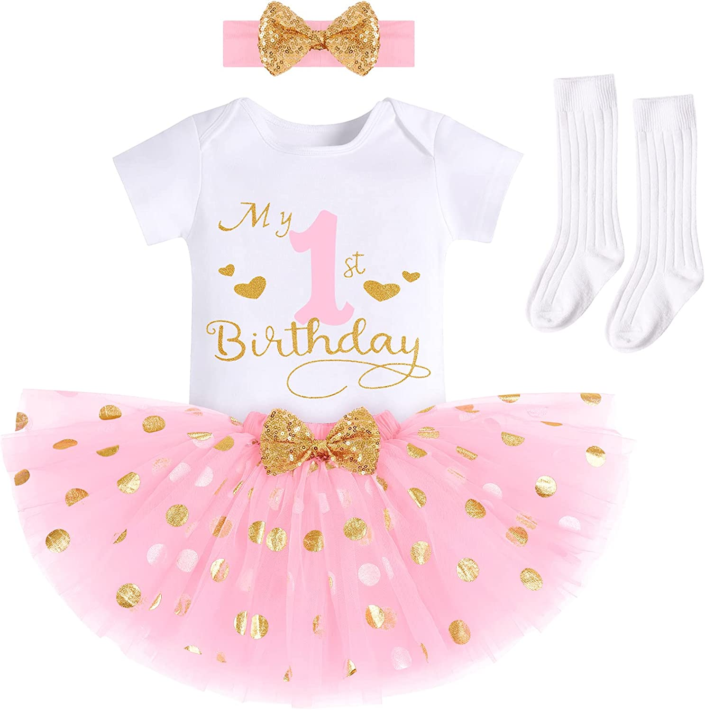 Baby Girls It's My 1/2 /1st /2nd/3rd Birthday Cake Smash Outfit Princess Onesie Tutu Skirt W/Socks&Headband 4PCS Set