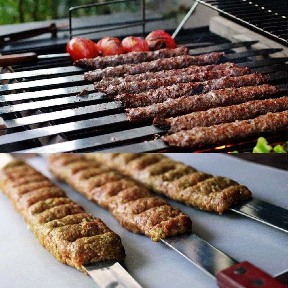 """RILI Aiguilles brochettes INOX Manche en Bois à Long Barbecue bâtons Fourche Kebab Plat Turc Grill Outils de Broche 60cm / 23,5"""",5 pièces 2 Pièces"""