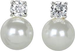 LAUREN Ralph Lauren - Pearl Button Studs w/Cubic Zirconia Stones