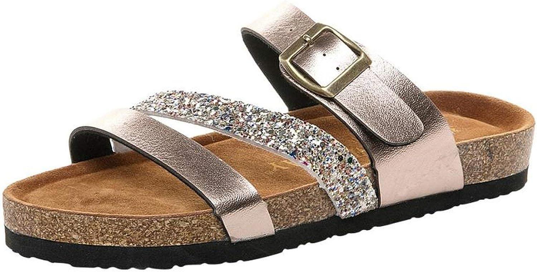 Summer flip Flops Cross Toe Strap Flat Sandals Beach shoes Thick-Soled Cork Sequin Slippers