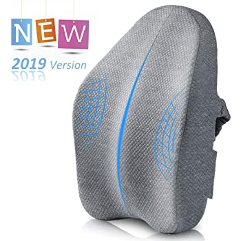 Villsure Lumbar Support Pillow, Bamboo Charcoal Fiber Ergonomic Design Back Cushion for Low Back Pain Relief with Adjustable Elastic Straps, Orthopedic Backrest for Car Seat, Wheelchair