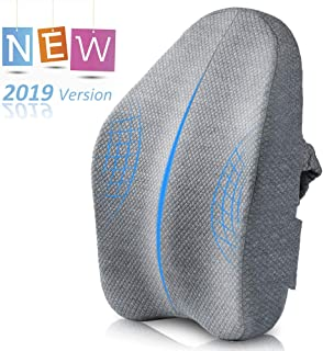 Villsure Lumbar Support Pillow, Bamboo Charcoal Fiber Ergonomic Design Back Cushion for Low Back Pain Relief with Adjustable Elastic Straps, Orthopedic Backrest for Office Chair, Car Seat, Wheelchair