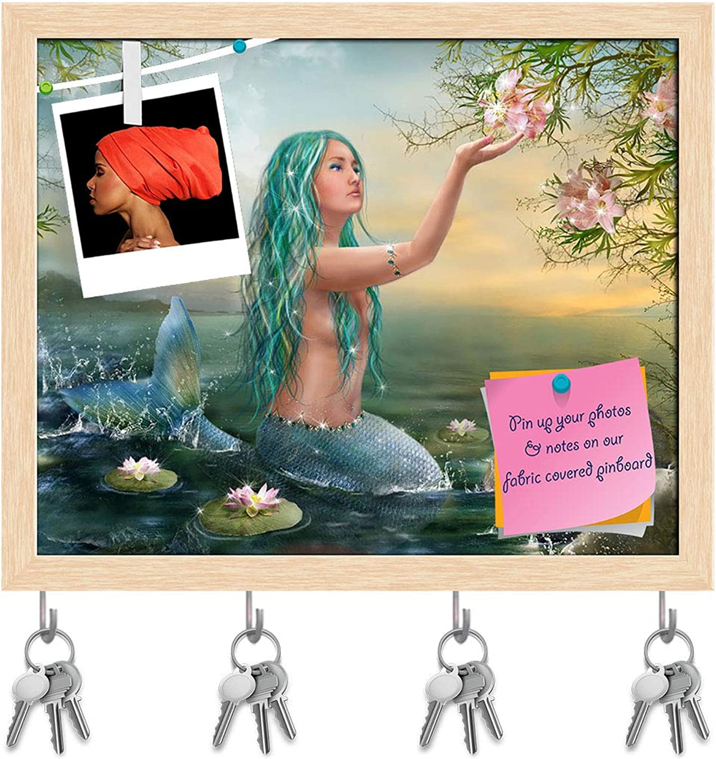 Artzfolio Mermaid with Flowers Key Holder Hooks   Notice Pin Board   Natural Brown Frame 19.6 X 16Inch