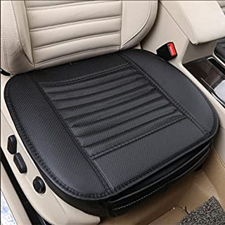 JOJOHON Car Seat Cushion, Car Seat Pad with PU Leather Bamboo Charcoal Car Seat Protector for for Auto Supplies Office Chair,Single Seat Without Backrest (1-Pack, Black)