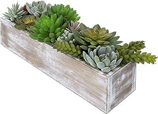 MyGift 12 Inch Faux Succulent Plant Arrangement in Brown Whitewashed Wood Rectangular Planter Pot