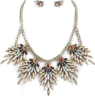 Luxus Set collana orecchini ciondolo a forma di penna glitzs Design miele pesca chiaro marrone chiaro