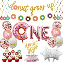 Donut First Birthday Party Decoration Supplies Kit, 37Pcs, 1st Birthday Decorations, Including Donut One Foil Balloon, Don...