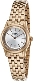 Rotary Women's Quartz Watch with Silver Dial Analogue Display and Rose Gold Stainless Steel Plated Bracelet LB02573/01