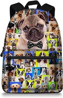 Cute Animals Pug Dog School Bag for Teenagers Boys Girls