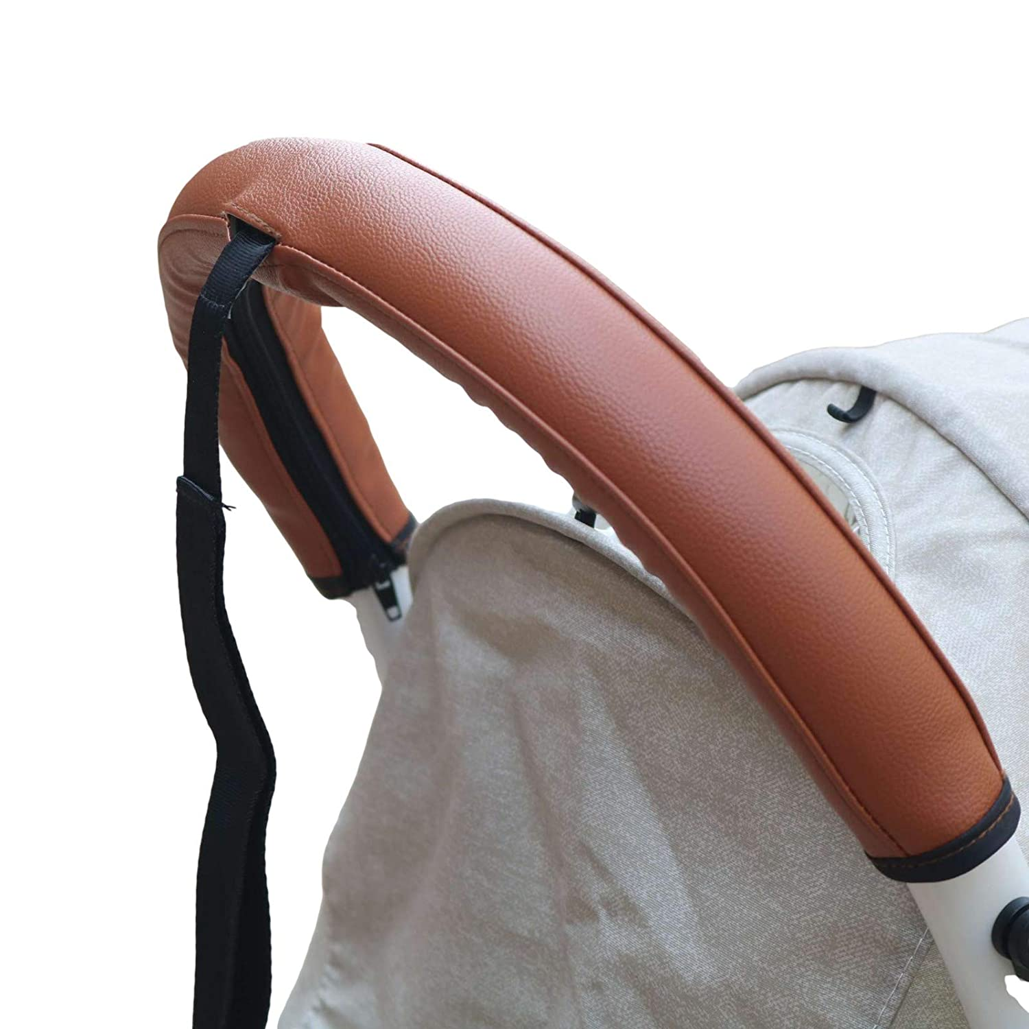 Leather Handle Sleeve Cover Compatible for Babyzen yoyo 2,Stroller Accessories,PU Sleeve Protect Case for YOYO+ Armrest Bumper (No Wrist Strap) (Brown)